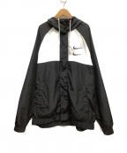 NIKE()の古着「ウーブンフーデッドジャケット」|ブラック×ホワイト