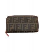 ()の古着「ラウンドファスナー長財布」|ブラウン×ブラック