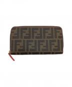 FENDI(フェンディ)の古着「ラウンドファスナー長財布」 ブラウン×ブラック
