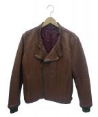 Varde77(バルデセブンティセブン)の古着「ヴィンテージレザーダブルライダースジャケット」|ブラウン