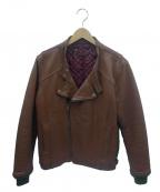 Varde77(バルデセブンティセブン)の古着「ヴィンテージレザーダブルライダースジャケット」 ブラウン