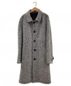 PALTO(パルト)の古着「ツイードベルテッドバルカラーコート」|ホワイト×ブラック