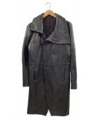 NO ID.(ノーアイディー)の古着「ラムハーフベジタブルハイカラーチェスターコート」|ブラック