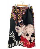 TARA JARMON(タラジャーモン)の古着「グラフィカルプリントスカート」|ブラック