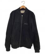 AVIREX(アヴィレックス)の古着「スウェードスポーツジャケット」|ブラック