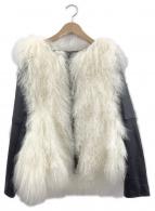DOUBLE STANDARD CLOTHING(ダブルスタンダードクロージング)の古着「チベットラムレザージャケット」|ブラック×ホワイト