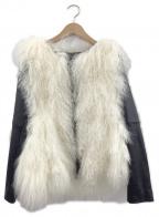 DOUBLE STANDARD CLOTHING(ダブルスタンダードクロージング)の古着「チベットラムレザージャケット」 ブラック×ホワイト