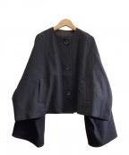 CLANE(クラネ)の古着「ノーカラーワイドブルゾン」|ブラック