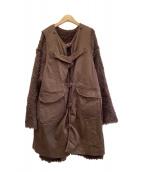 ()の古着「ニットレイヤードミリタリーコート」|ブラウン