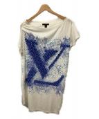 LOUIS VUITTON(ルイヴィトン)の古着「アシンメトリーロゴTシャツ」|ホワイト×ブルー