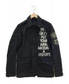 Hysteric Glamour(ヒステリックグラマー)の古着「ペイントミリタリージャケット」|ブラック