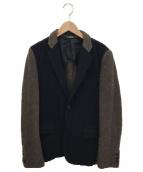 COMME des GARCONS HommePlus(コムデギャルソンオムプリュス)の古着「切替ジャケット」|ネイビー×ブラウン