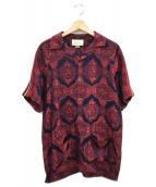 GUCCI(グッチ)の古着「フラワージャガードボウリングシャツ」|レッド×ネイビー