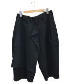 YohjiYamamoto pour homme(ヨウジヤマモトプールオム)の古着「右前垂らし布シワギャバパンツ」|ブラック