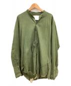 GREG LAUREN(グレッグローレン)の古着「ヴィンテージバンドカラースタジオシャツ」|オリーブ