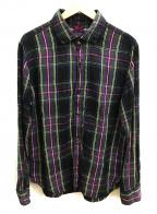 BRU NA BOINNE(ブルーナボイン)の古着「リネンシャツ」|ブラック×パープル