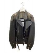Maison Margiela(メゾンマルジェラ)の古着「切替レザーライダースジャケット」|ブラック×グレー