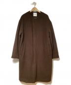 CLANE HOMME(クラネ オム)の古着「ロングノーカラーコクーンコート」|ブラウン