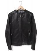 UNITED TOKYO(ユナイテッドトーキョー)の古着「ノーカラーレザージャケット」|ブラック