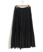 ()の古着「ランダムプリーツロングスカート」|ブラック