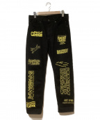 Calvin Klein Jeans(カルバンクラインジーンズ)の古着「EMBROIDERED STRAIGHT LEG JEANS」 ブラック×イエロー