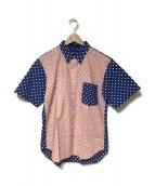 COMME des GARCONS HOMME DEUX(コムデギャルソンオムドゥ)の古着「半袖シャツ」|ネイビー×ピンク