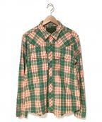 TMT(ティーエムティー)の古着「ダブルガーゼチェックウエスタンシャツ」|オレンジ×グリーン