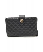 ()の古着「2つ折り財布」 ブラック×ピンク