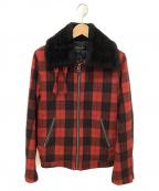 LOUNGE LIZARD(ラウンジリザード)の古着「ジップアップジャケット」|レッド×ブラック