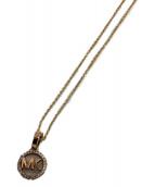 MICHAEL KORS(マイケルコース)の古着「ダブルクリスタルロゴネックレス」 ゴールドカラー