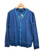 ()の古着「ラインVネックカーディガン」|ブルー