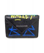 BALENCIAGA(バレンシアガ)の古着「グラフィティ/ペーパーミニウォレット」 ブラック