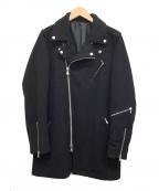 NO ID.(ノーアイディー)の古着「メルトンライダースコート」|ブラック
