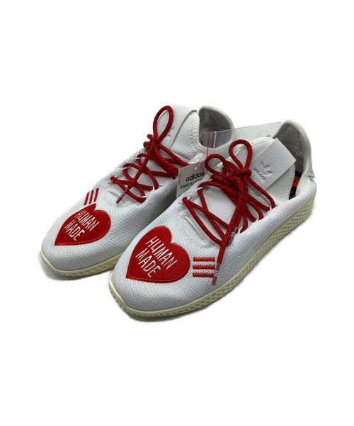 adidas(アディダス)adidas (アディダス) TENNIS HU HUMAN MADE ホワイト×レッド サイズ:US 71/2 未使用品 by PHARRELL WILLIAMS TENNIS HU EF2392の古着・服飾アイテム