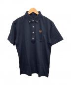 FRED PERRY()の古着「ボタンダウンポロシャツ」|ブラック×オレンジ