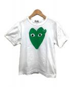 ()の古着「ハートワッペンプリントTシャツ」 ホワイト×グリーン