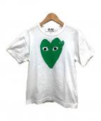 PLAY COMME des GARCONS(プレイ コムデギャルソン)の古着「ハートワッペンプリントTシャツ」|ホワイト×グリーン