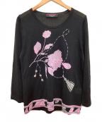 LEONARD(レオナール)の古着「装飾シルクカットソー」 ブラック×ピンク