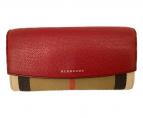 BURBERRY(バーバリーズ)の古着「長財布」|レッド×ベージュ