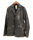 ()の古着「ヴィンテージ加工レザージャケット」|ブラック