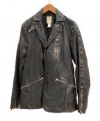 DIESEL(ディーゼル)の古着「ヴィンテージ加工レザージャケット」|ブラック