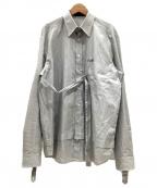 DIESEL Black Gold(ディーゼル ブラック ゴールド)の古着「ストライプシャツ」|ホワイト×ブラック