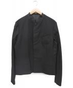 ato(アトウ)の古着「ストレッチウールノーカラージャケット」|ブラック