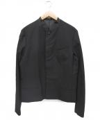 ato(アトウ)の古着「ストレッチウールノーカラージャケット」 ブラック