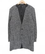 ato(アトウ)の古着「ループツイードコート」 ブラック×グレー
