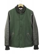 BEN DAVIS(ベン デイビス)の古着「リブレザージャケット」|グリーン×ブラック
