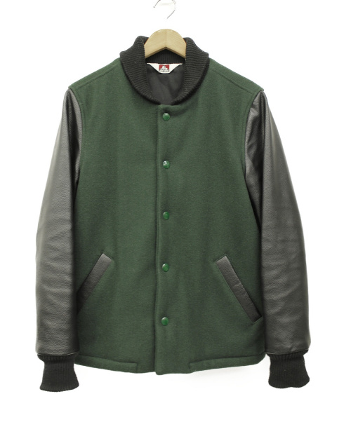 BEN DAVIS(ベン デイビス)BEN DAVIS (ベン デイビス) リブレザージャケット グリーン×ブラック サイズ:M カナダメルトンアワードの古着・服飾アイテム