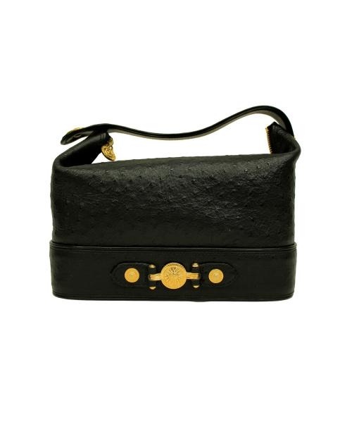 VERSACE(ヴェルサーチ)VERSACE (ヴェルサーチ) バニティバッグ ブラック×ゴールドの古着・服飾アイテム