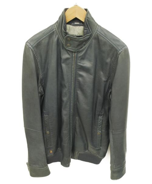 DIESEL(ディーゼル)DIESEL (ディーゼル) ラムレザージャケット ネイビー サイズ:S 羊革の古着・服飾アイテム