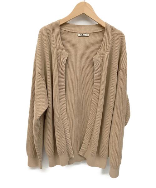 AURALEE(オーラリー)AURALEE (オーラリー) ニットカーディガン ピンクベージュ サイズ:3 コットン100%の古着・服飾アイテム